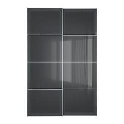 UGGDAL pair of sliding doors, grey glass Width: 150 cm Built-in depth: 8.0 cm Height: 236 cm
