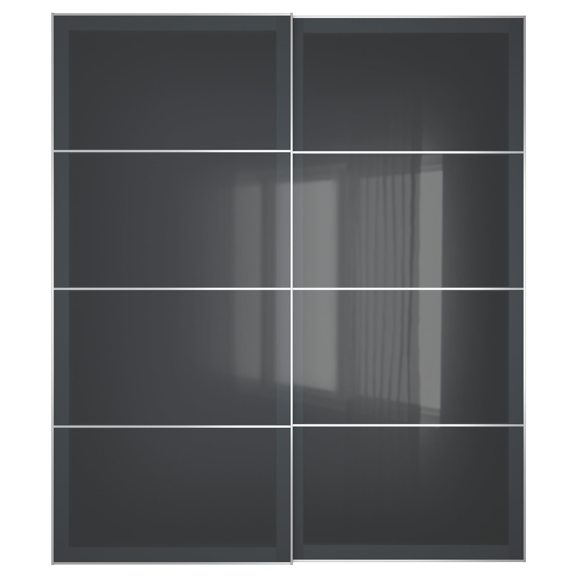 3 panel sliding closet doors - Uggdal Pair Of Sliding Doors Gray Glass Width 78 3 4 Built