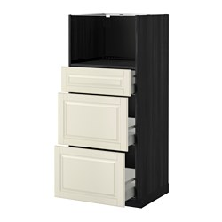 METOD /  MAXIMERA high cab for micro with 3 drawers, Bodbyn off-white, black Width: 60.0 cm Depth: 61.9 cm Frame, depth: 60.0 cm