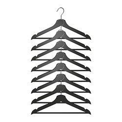BUMERANG hanger, black Width: 43 cm Thickness: 14 mm Package quantity: 8 pack