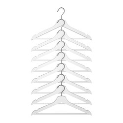 BUMERANG hanger, white Width: 43 cm Thickness: 14 mm Package quantity: 8 pack