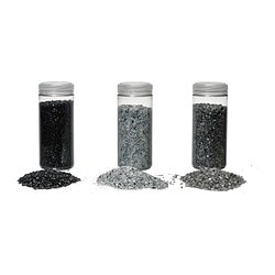 KULÖRT decoration, crushed glass, gray, black/white Weight: 1.54 lb Weight: 0.70 kg