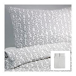 "KRÅKRIS duvet cover and pillowcase(s) Duvet cover length: 86 "" Duvet cover width: 86 "" Pillowcase length: 20 "" Duvet cover length: 218 cm Duvet cover width: 218 cm Pillowcase length: 51 cm"