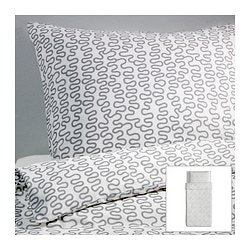 "KRÅKRIS duvet cover and pillowcase(s) Duvet cover length: 86 "" Duvet cover width: 64 "" Pillowcase length: 20 "" Duvet cover length: 218 cm Duvet cover width: 162 cm Pillowcase length: 51 cm"