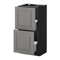 METOD /  FÖRVARA base cabinet with 2 drawers, Bodbyn grey, black Width: 40.0 cm Depth: 39.5 cm Frame, depth: 37.0 cm