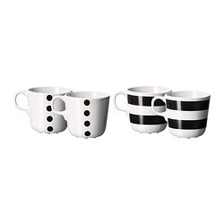 UNGDOM mug, black, white Height: 8 cm Volume: 21 cl Package quantity: 4 pieces
