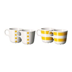 UNGDOM mug, yellow, white Height: 8 cm Volume: 21 cl Package quantity: 4 pack