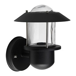 UPPLID wall lamp, outdoor black Shade diameter: 20 cm
