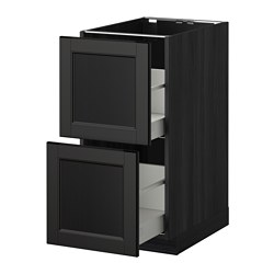METOD /  MAXIMERA base cb 2 fronts/2 high drawers, Laxarby black-brown, black Width: 40.0 cm Depth: 62.0 cm Frame, depth: 60.0 cm