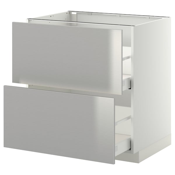 Base cb 2 fronts/2 high drawers METOD white Maximera, Grevsta stainless  steel