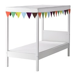 ÖVRE bed w slatted bed base and canopy, white Length: 169 cm Width: 77.5 cm Height: 127.5 cm