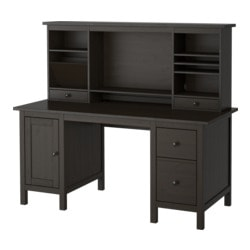 "HEMNES desk with add-on unit, black-brown Width: 61 "" Max. depth: 25 5/8 "" Height: 53 7/8 "" Width: 155 cm Max. depth: 65 cm Height: 137 cm"