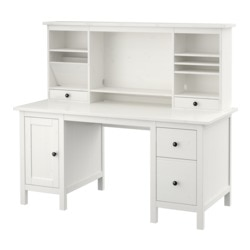 HEMNES desk with add-on unit, white stain Width: 155 cm Max. depth: 65 cm Height: 137 cm
