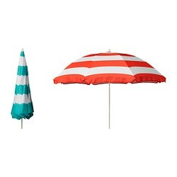 RAMSÖ parasol, assorted colours Diameter: 140 cm Pole diameter: 14 mm Height: 90 cm