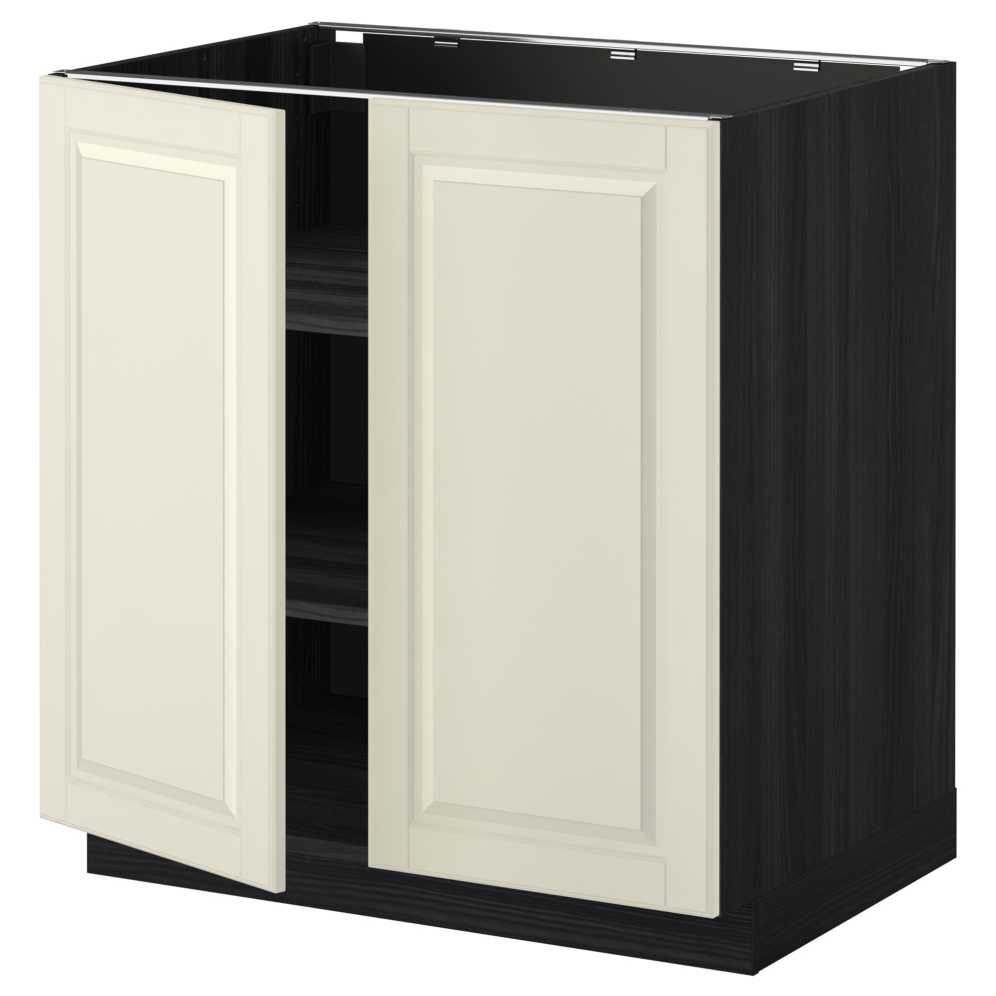 Innovativ METOD Base cabinet with shelves/2 doors - wood effect black  ML21