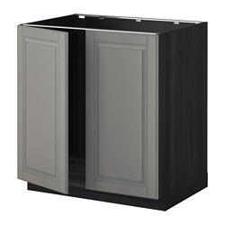 METOD base cabinet for sink + 2 doors, Bodbyn grey, black Width: 80.0 cm Depth: 61.9 cm Frame, depth: 60.0 cm
