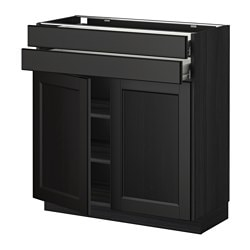 METOD /  FÖRVARA base cabinet w 2 doors/2 drawers, Laxarby black-brown black-brown, black Width: 80.0 cm Depth: 39.6 cm Frame, depth: 37.0 cm