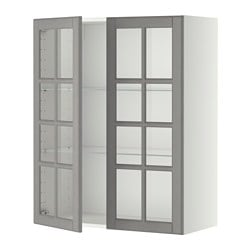 METOD Wall cabinet w shelves/2 glass drs EGP 2,055.00