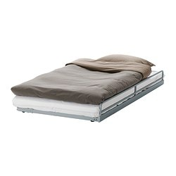 "SVÄRTA pull-out bed, silver color Length: 73 5/8 "" Width: 39 3/8 "" Height: 7 7/8 "" Length: 187 cm Width: 100 cm Height: 20 cm"