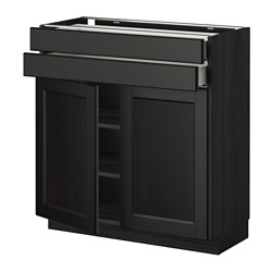 METOD /  MAXIMERA base cabinet w 2 doors/2 drawers, Laxarby black-brown, black Width: 80.0 cm Depth: 39.6 cm Frame, depth: 37.0 cm