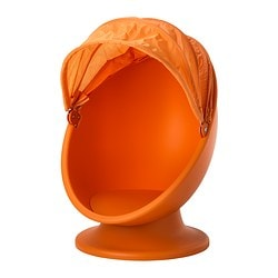 IKEA PS LÖMSK swivel armchair, orange, light orange Width: 59 cm Depth: 62 cm Total height: 82 cm