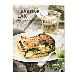 LASAGNE LAX salmon lasagna with spinach, frozen Net weight: 1 lb 5 oz Net weight: 600 g