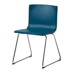BERNHARD chair, Kavat blue, chrome-plated Tested for: 110 kg Width: 49 cm Depth: 50 cm