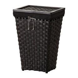 KNARRA laundry basket with lining, black, brown Length: 38 cm Width: 29 cm Height: 57 cm