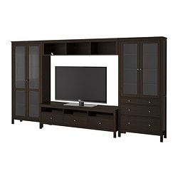 HEMNES TV storage combination/glass doors Width: 363 cm Depth: 49 cm Height: 197 cm