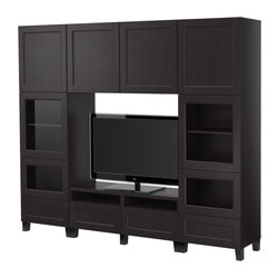 BESTÅ TV storage combination, black-brown Width: 240 cm Depth: 40 cm Height: 202 cm