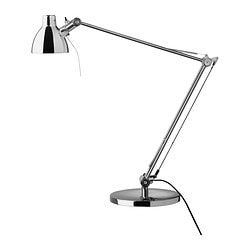 "ANTIFONI work lamp, nickel plated Height: 17 "" Shade diameter: 4 "" Cord length: 6 ' 4 "" Height: 44 cm Shade diameter: 9 cm Cord length: 193 cm"