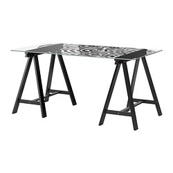 GLASHOLM /  ODDVALD table, glass, fingerprint pattern black Length: 148 cm Width: 73 cm Height: 71 cm