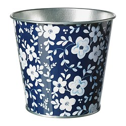 "MUSKOTNÖT plant pot, blue patterned Outside diameter: 5 ½ "" Max. diameter inner pot: 4 ¾ "" Height: 4 ¾ "" Outside diameter: 14 cm Max. diameter inner pot: 12 cm Height: 12 cm"