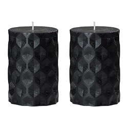 "RUTIN scented block candle, gray, Dried roses gray Diameter: 2 ¾ "" Height: 4 "" Burning time: 30 hr Diameter: 7 cm Height: 10 cm Burning time: 30 hr"