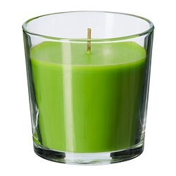 SINNLIG scented candle in glass, green, Crisp apple Height: 7.5 cm Burning time: 25 hr