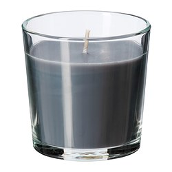 SINNLIG scented candle in glass, grey, Calming spa Height: 7.5 cm Burning time: 25 hr