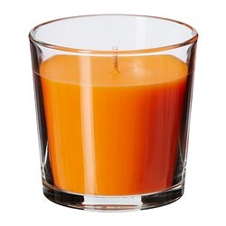 SINNLIG scented candle in glass, orange, Tangerine sunshine Height: 7.5 cm Burning time: 25 hr
