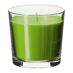 SINNLIG scented candle in glass, green, Crisp apple Height: 9 cm Burning time: 40 hr