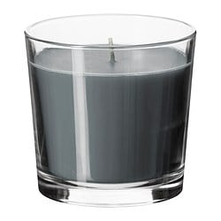 SINNLIG scented candle in glass, grey, Calming spa Height: 9 cm Burning time: 40 hr