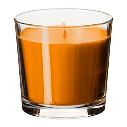 SINNLIG scented candle in glass, orange, Tangerine sunshine Height: 9 cm Burning time: 40 hr
