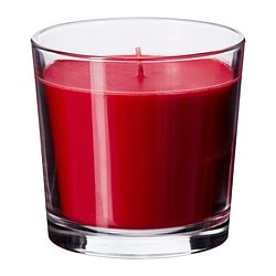 SINNLIG scented candle in glass, red, Sweet berries Height: 9 cm Burning time: 40 hr
