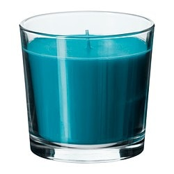 SINNLIG scented candle in glass, turquoise, Beach breeze Height: 9 cm Burning time: 40 hr