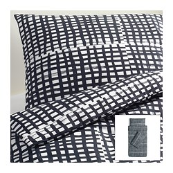 BJÖRNLOKA RUTA quilt cover and 2 pillowcases, black/white Quilt cover length: 200 cm Quilt cover width: 150 cm Pillowcase length: 50 cm