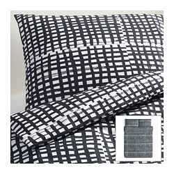 BJÖRNLOKA RUTA quilt cover and 2 pillowcases, black/white Quilt cover length: 230 cm Quilt cover width: 200 cm Pillowcase length: 50 cm