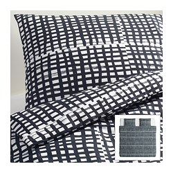 BJÖRNLOKA RUTA quilt cover and 2 pillowcases, black/white Quilt cover length: 220 cm Quilt cover width: 240 cm Pillowcase length: 50 cm