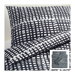 BJÖRNLOKA RUTA quilt cover and 4 pillowcases, black/white Quilt cover length: 220 cm Quilt cover width: 240 cm Pillowcase length: 50 cm