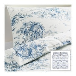 "EMMIE LAND duvet cover and pillowcase(s), blue, white Duvet cover length: 86 "" Duvet cover width: 102 "" Pillowcase length: 20 "" Duvet cover length: 218 cm Duvet cover width: 259 cm Pillowcase length: 51 cm"