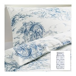 "EMMIE LAND duvet cover and pillowcase(s), blue, white Duvet cover length: 86 "" Duvet cover width: 64 "" Pillowcase length: 20 "" Duvet cover length: 218 cm Duvet cover width: 162 cm Pillowcase length: 51 cm"