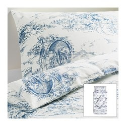 EMMIE LAND quilt cover and 2 pillowcases, blue, white Quilt cover length: 200 cm Quilt cover width: 150 cm Pillowcase length: 50 cm