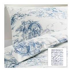EMMIE LAND quilt cover and 4 pillowcases, blue, white Quilt cover length: 200 cm Quilt cover width: 200 cm Pillowcase length: 50 cm